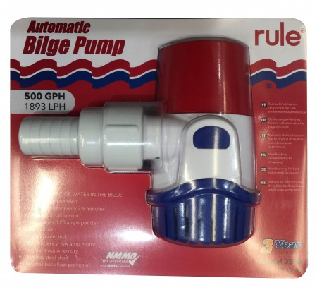 Rule Automatic 500gph Submersible Bilge Pump Round Base 12 Volt