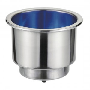 RWB Marine Stainless Steel Drink Holder w/ Blue LEDs - 12V