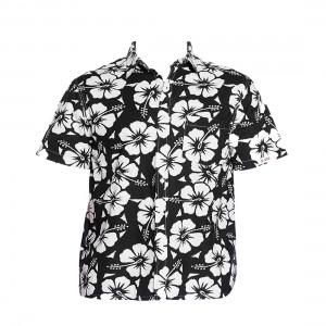 Okanui Hibiscus Black Classic Short Sleeve Shirt
