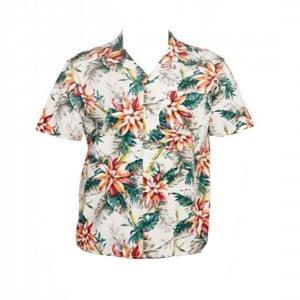 Okanui Floral Natural Classic Short Sleeve Shirt