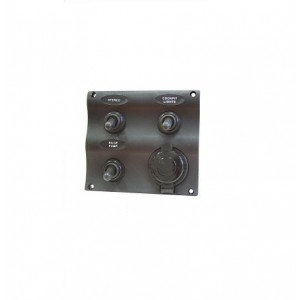 Easterner C91339 Water Resistant 3 Gang Switch Panel w/ Socket