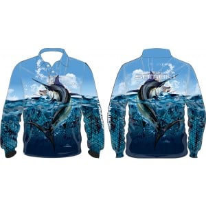 Samaki Black Marlin Long Sleeve Shirt - Kids