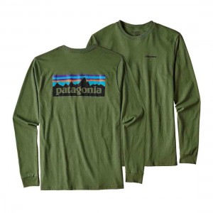 Patagonia Mens L/S P-6 Logo Cotton T-Shirt