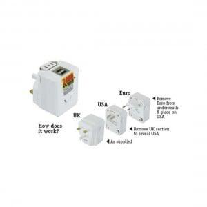 OSA Brands Travel Adapter Universal w/ USB