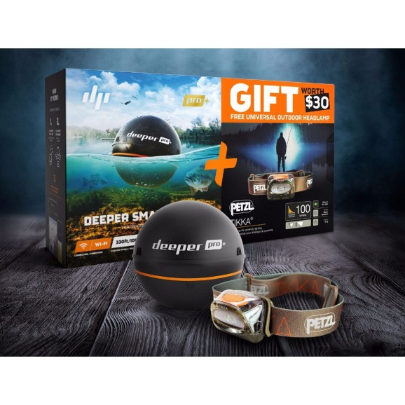 Deeper Fish Finder Smart Sonar Pro+ w/ FREE Petzl Headlamp